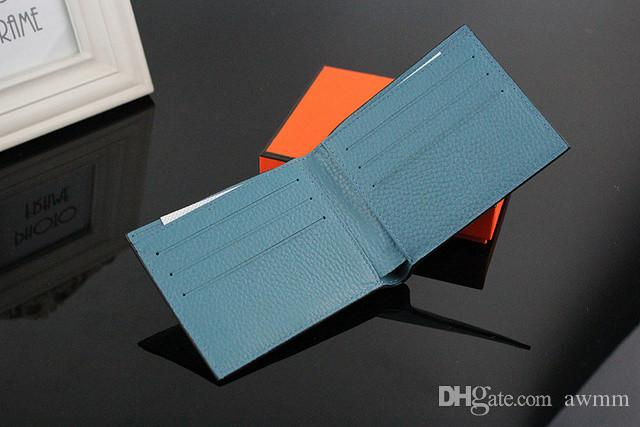 Men Wallet Fashion Plain Design Genuine Leather Short Purse,Men's Luxurious Brand Wallet For Credit Cards With Dust Bag Box