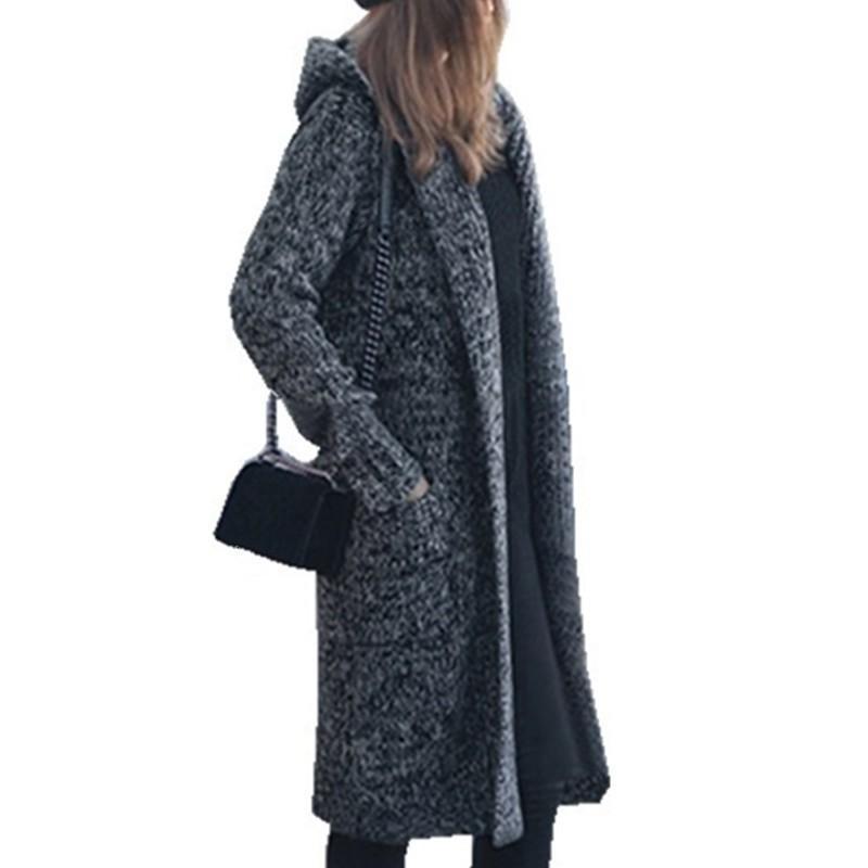d514fa72cf 2019 Harajuku Long Cardigan Ladies 2018 Fall Fashion Long Knit Sweater  Women Large Coat Casual Black Jacket Winter Clothing Sweaters From  Elseeing