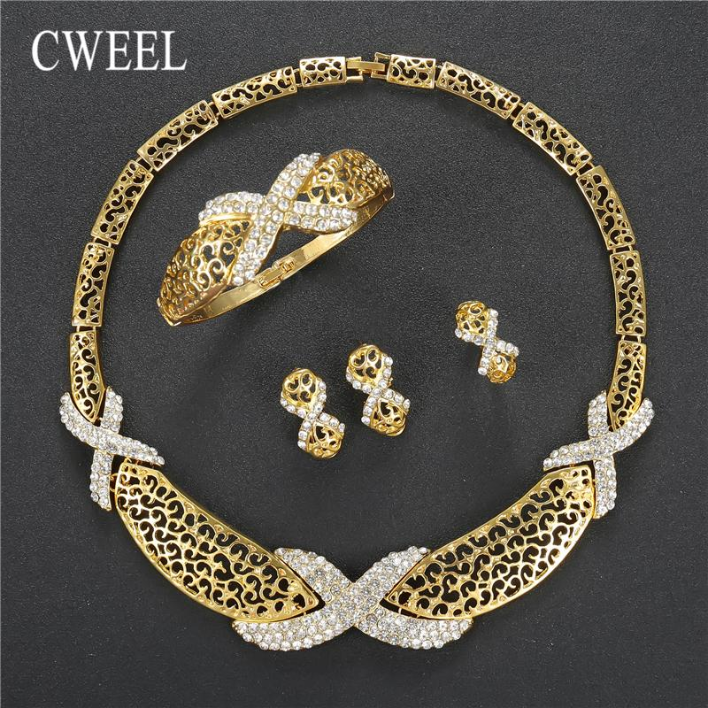 CWEEL Jewelry Sets For Women Wedding Dubai Bridal African Beads Jewelry Set Necklace Earrings Nigerian Bead Cheap Jewellery