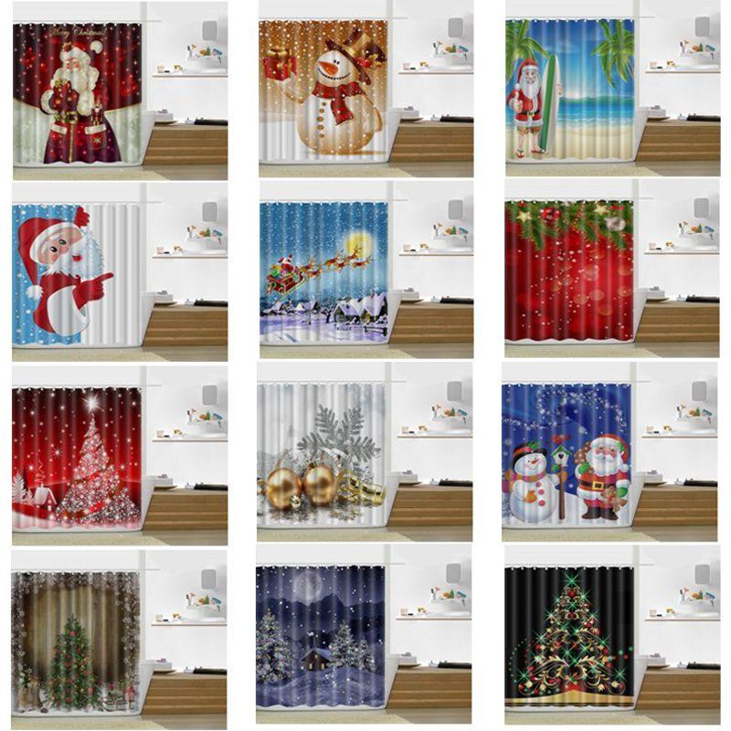 2018 Snowman Shower Curtain Merry Christmas Sleepy Snowman Pattern