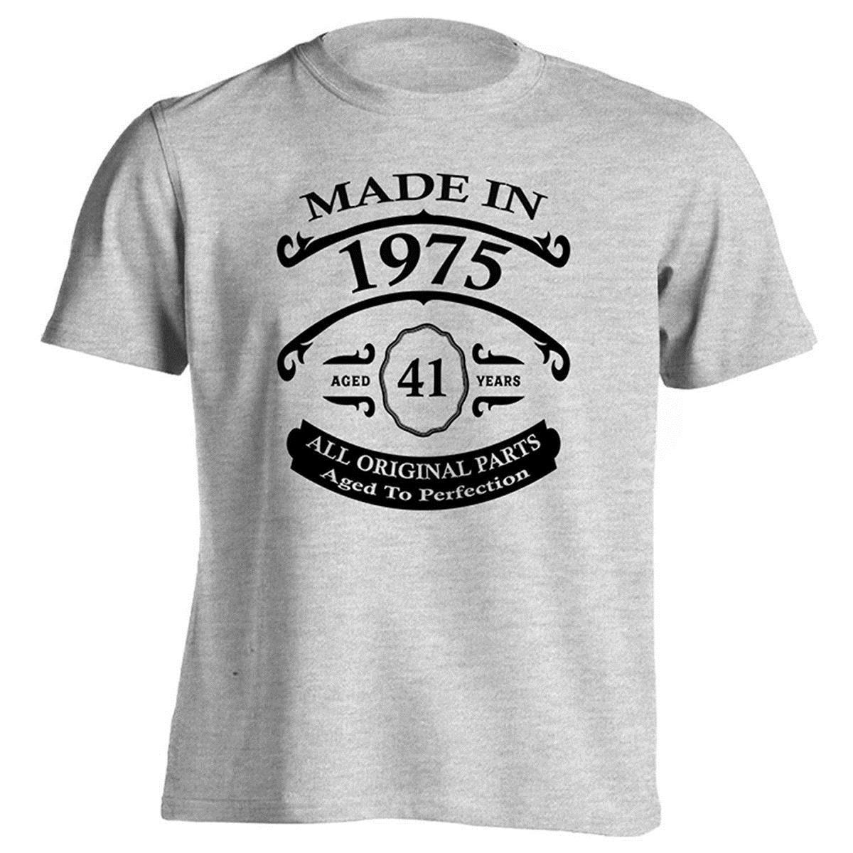 Creative Printed 41st Birthday Gift T Shirt Born In 1975 Vintage Aged 41 Years To Perfection Short Sleeve Mens Tops Tee Online Shopping