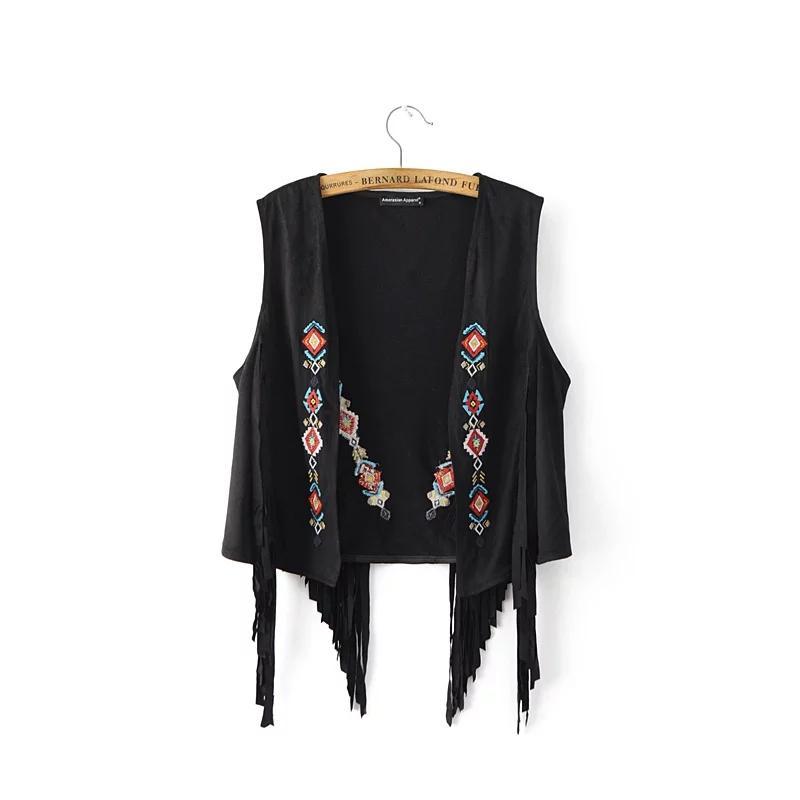 Verano otoño gamuza borlas sin mangas con flecos chaleco cardigan negro caqui Retro bordado de cuero de gamuza chaleco de las mujeres
