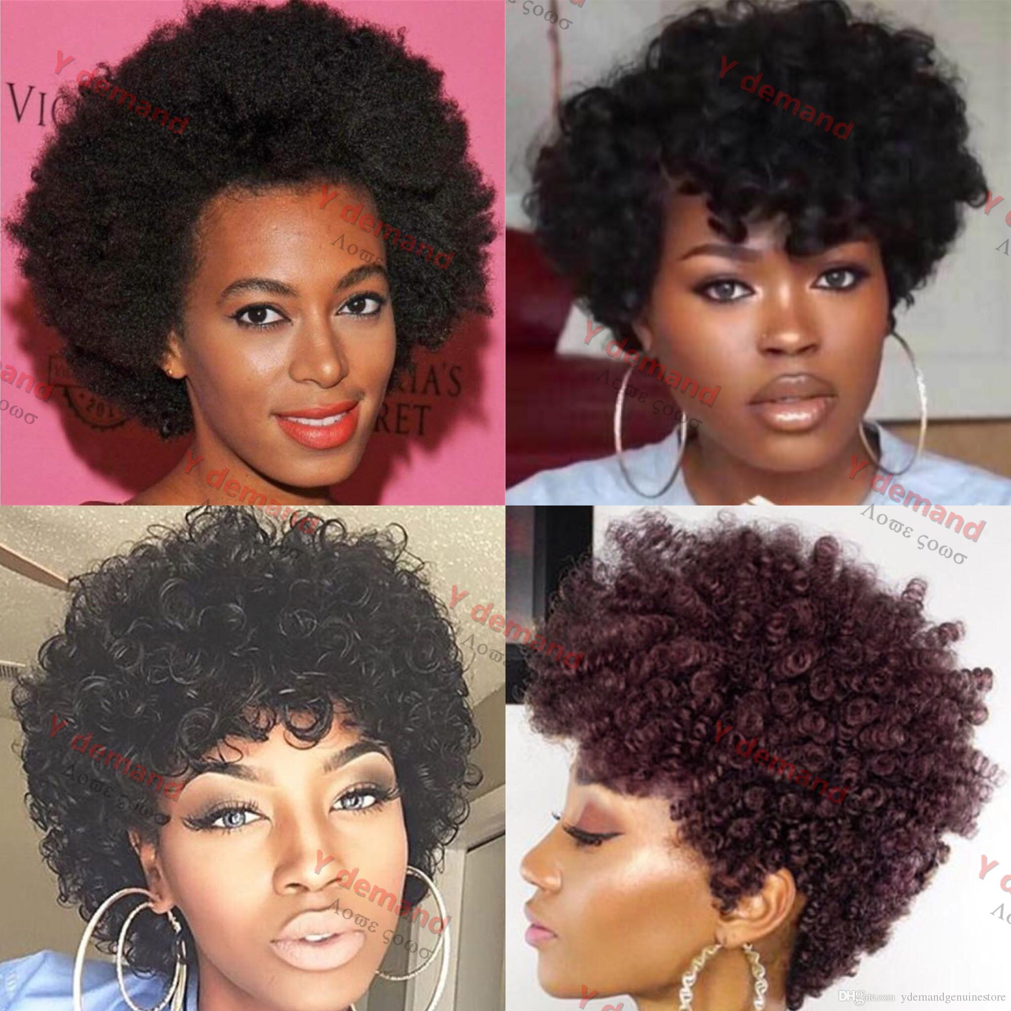 Hot 4 Styles Short Kinky Curly Hair Full Wig Synthetic Wigs Virgin Hair  Brazilian Malaysian Indian Hair Wigs For Black Women Natural Synthetic Wigs  Natural ... 0e604cfac