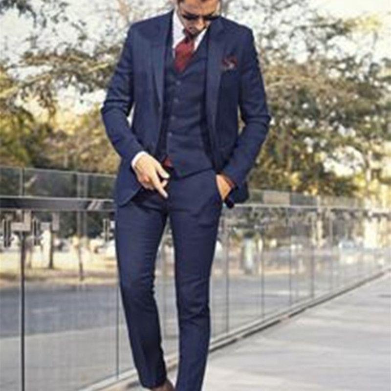 Compre Por Encargo Traje Azul Oscuro Para Hombre Traje Hecho A Medida Trajes  De Boda Azul Marino Claro Para Hombre Slim Fit Novio Esmoquin Para Hombre A  ... 9138531c8ab0