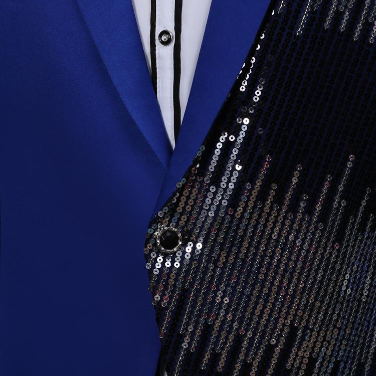 PYJTRL Mens Incline Sequins Paillette Black Blue Red Purple Satin Face Suit Jacket Stage Singer Slim Fit Blazer Costume Homme