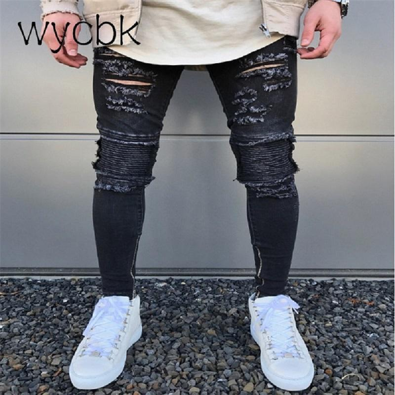 51df042cc62 2019 Wycbk 2018 New Black Ripped Jeans Men With Holes Super Skinny Famous  Designer Brand Slim Fit Destroyed Torn Jean Pants For Male From Tayler, ...