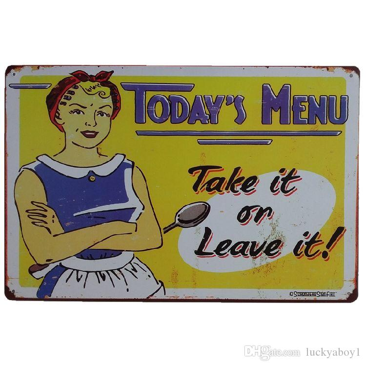 Today's Menu Vintage Metal Signs Home Decor Cafe Bar Decoration Plaque Pub Decorative Metal Wall Art Plates Tin Sign Retro 20x30cm