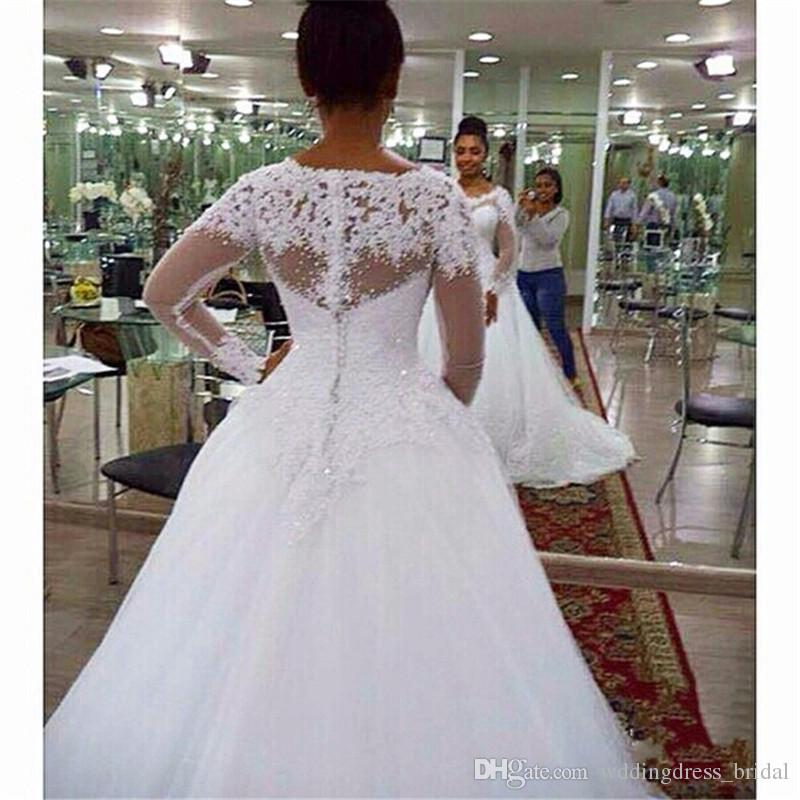 Plus Size Wedding Dresses 2019 Vintage Vestido De Noivas White Tulle Long Sleeves Ball Gown Wedding Gowns Custom Made Robe De Soiree