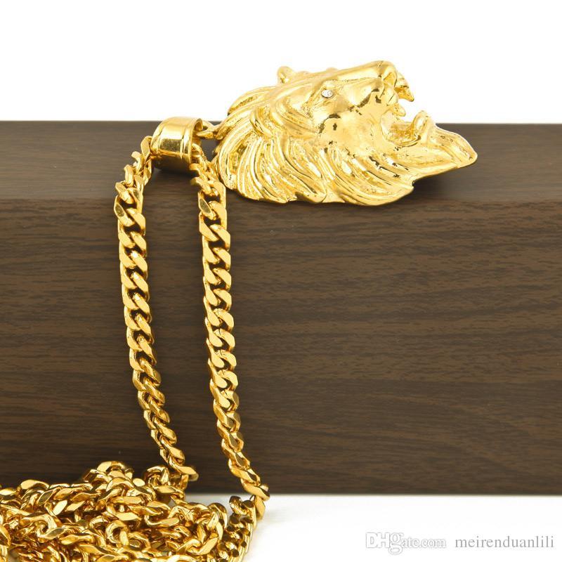 Pendenti testa di leoneCollane Gioielli hip-hop Catene in oro uomo Gioielli in acciaio inossidabile Collana di gioielli in catena a maglia con catena a maglia
