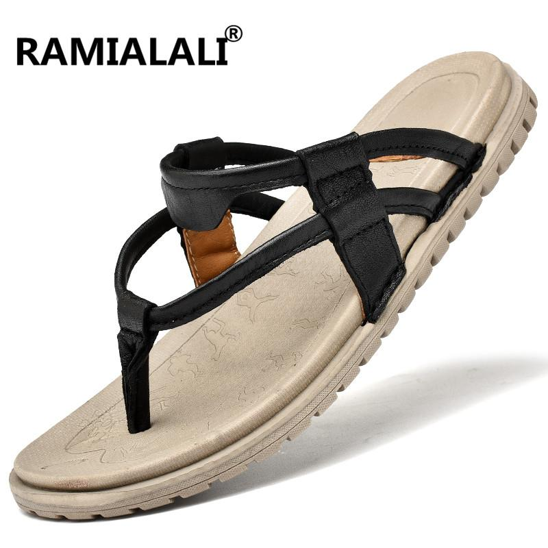 35361cc7d Male Summer Sandals Men Shoes Outdoor Beach Leather Sandals Mens Shoes  Casual Flat Fashion Designer Casual Men Sandals High Heels Heels From  Gor2doe