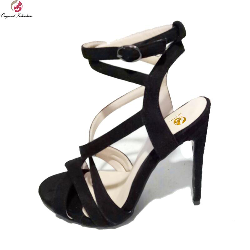 21147bc5a72e Original Intention New Stylish Women Sandals Elegant Open Toe Thin Heels  Sandals Fashion Black Shoes Woman Plus US Size 4 15 Ladies Shoes Red Shoes  From ...