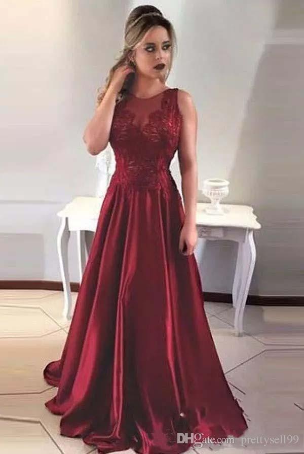 Benutzerdefinierte Arabi Spitze Prom Kleider 2018 mit Applikationen Jewel Neck Satin Sweep Zug Backless Abend Party Kleider