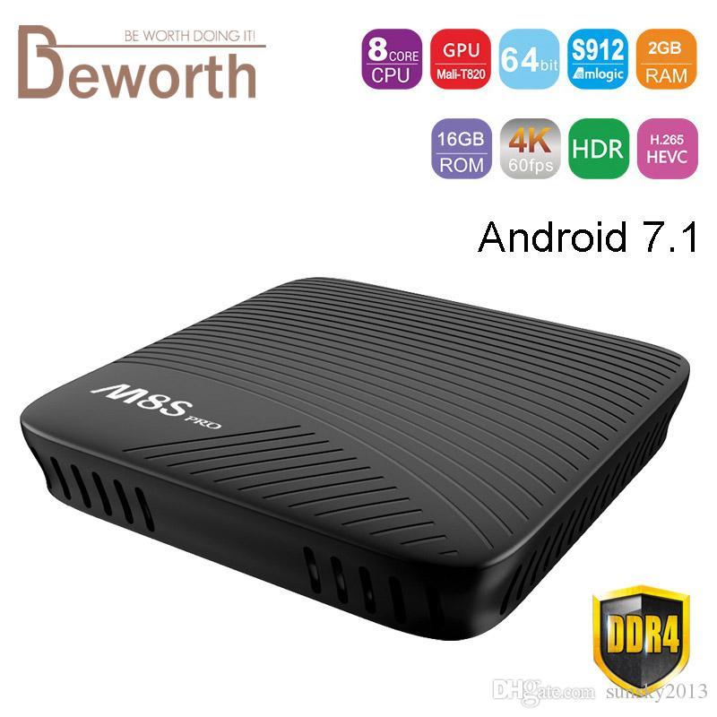 M8S Pro MECOOL Android 7 1 TV Box 2GB DDR4 RAM 16GB ROM Set Top Box Amlogic  S912 Octa Core 4K Smart Media Player BT 4 1 Dual Wifi 2G TVbox