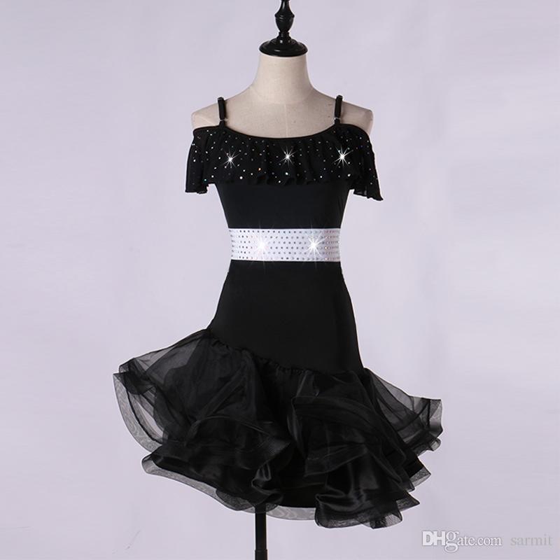 Vestito da ballo latino Vestito da ballo ragazze latino Salsa Abiti da ballo Costumi Samba D0059 Cintura con strass Fluffy Sheer Hem