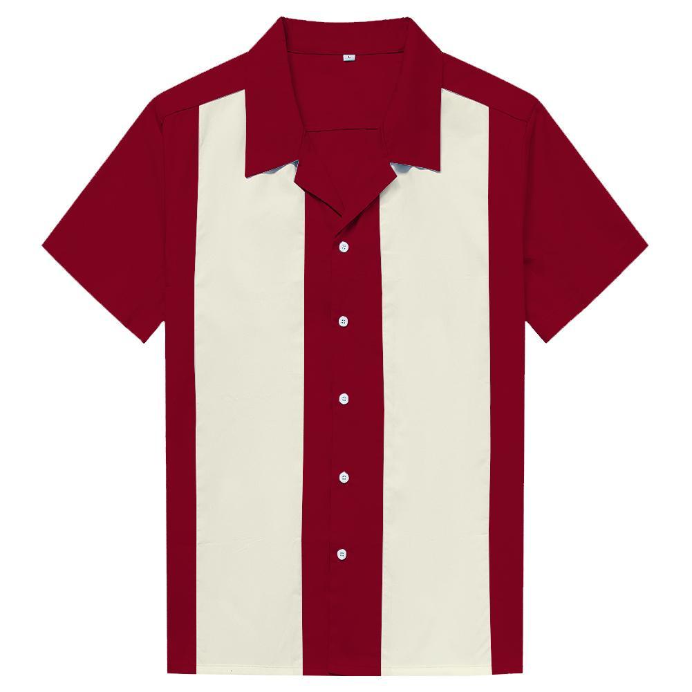 watch 6bcc0 454e9 Abbigliamento uomo online Rock Cotton Marron Avorio Vintage Design  Rockabilly alta qualità da uomo casual manica corta lavoro camicie