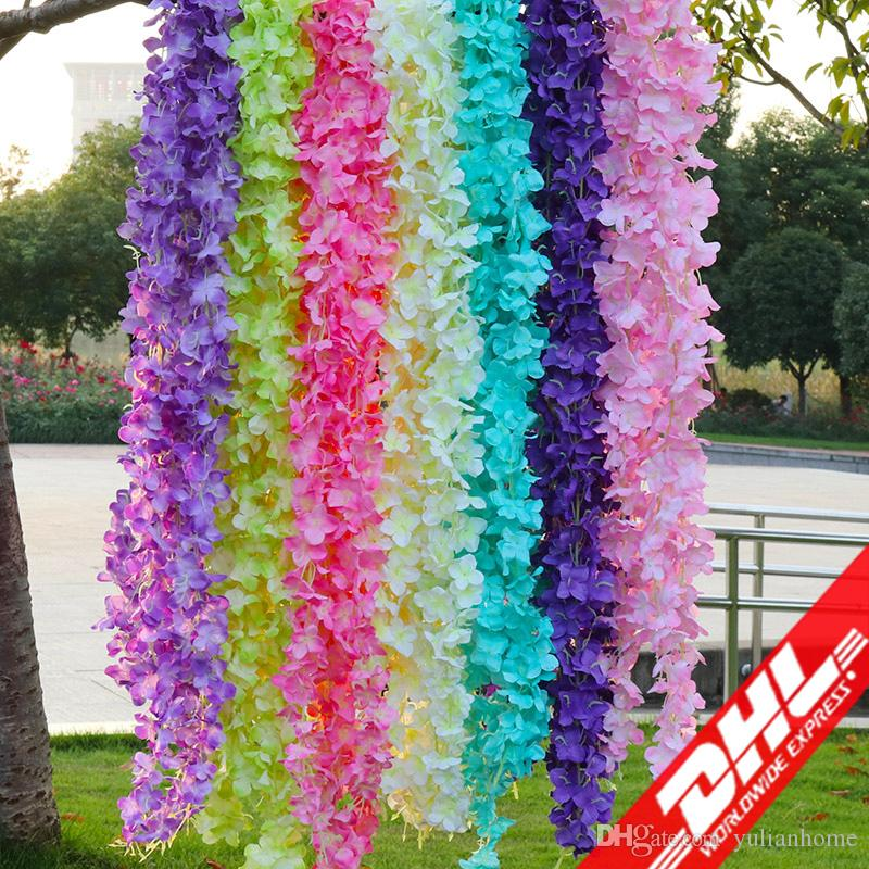 Artificial flowers wedding decorations silk flowers wedding artificial flowers wedding decorations silk flowers wedding simulation ocean orchid flower string hydrangeas 1m wall hanging strings wedding decorations junglespirit Image collections