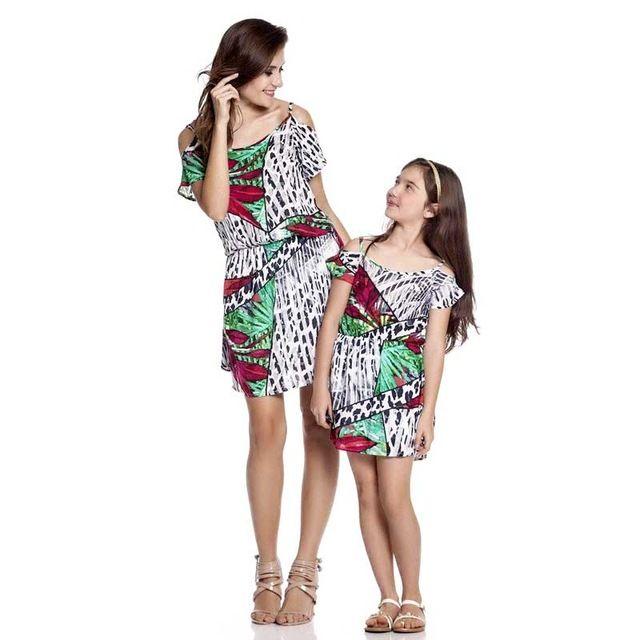Tropische Wälder Stil Mutter Tochter Kleider Familie passenden Outfits Europa und Amerika Mutter und Tochter passende Kleidung