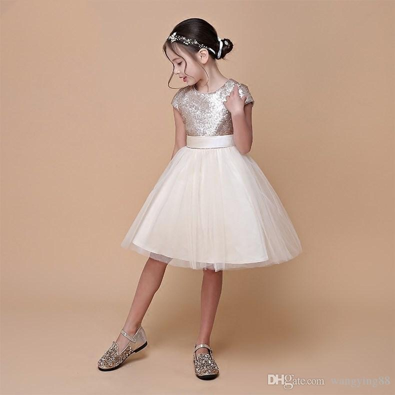 Real Sample High Quality Flower Girls Dresses Sparkly Gold Sequins Kids Knee Length Formal Wedding Party Gowns Sleeveless Open Back Bow Sash