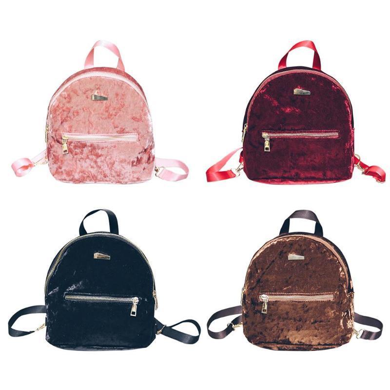 f3a1dcbf032b Korean Velvet Small Backpacks Women Winter Soft Backpack Girls Travel Shoulder  Bag Black Mini Backpack Female Daypack Backpacks For Kids Backpack With ...