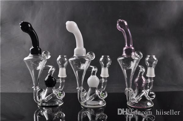 Double Bubble Glass Pink Bongs Light Colorful Oil Rigs Thick Glass Water Pipes Bent Type Honeycomb Perc Smoking Pipes 14mm joint bowl