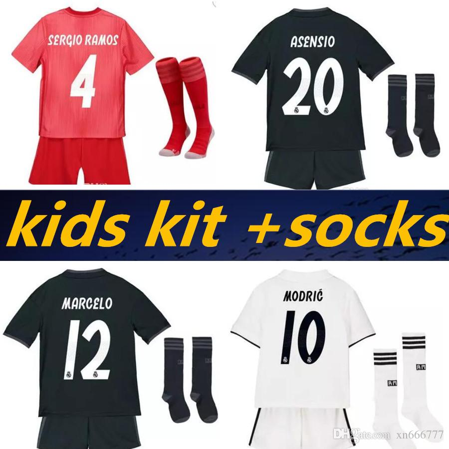 d5dc938c5 2019 Kids Kit +Socks Real Madrid 2019 MARIANO ASENSIO MODRIC Soccer Jersey  18 19 RAMOS BALE ISCO Camiseta Boy Football Shirts Third Red Jerseys From  ...