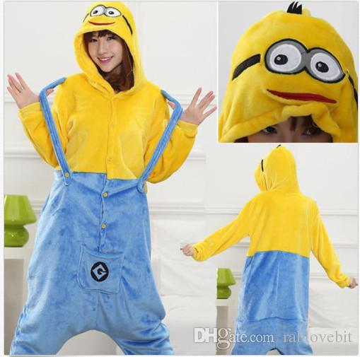 brand new d29eb 972bb Hot Minions Bambini Adulti Animal Kigurumi Pigiama Cosplay Costumi da notte  Costumi Unisex