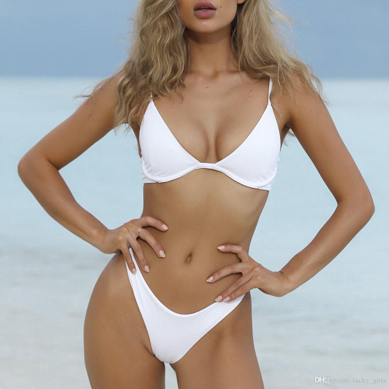 d15d8d6fd Compre Tanga Brasileira Bikini 2018 Underwire Push Up Conjunto Bikinis Swimwear  Mulheres Maiô Branco Preto Rosa Vermelho Maiô Beachwear De Lucky girls