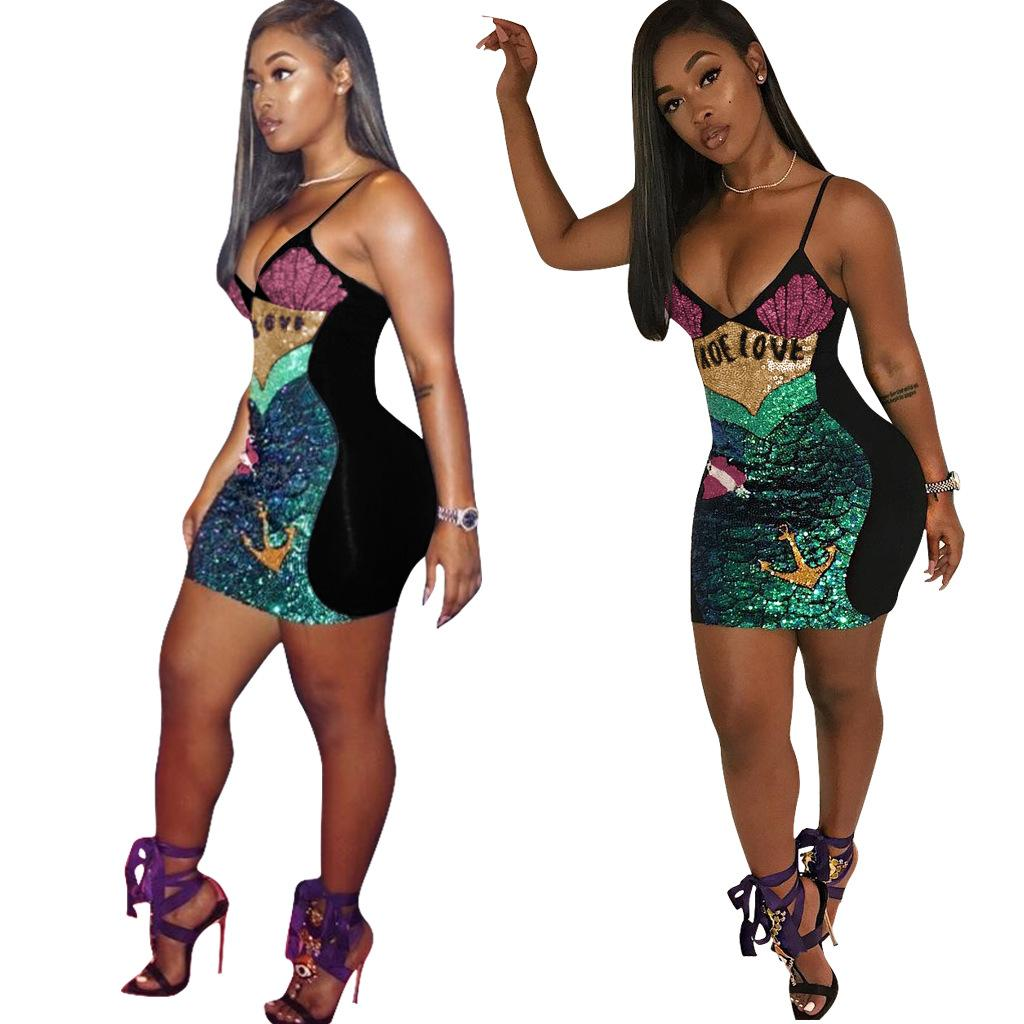 9426cc6f71 2019 2018 Women S Fashion Colorful Sequins Party Dress Colorful Skirts And  Tops Sexy Braces Skirt Sea Love Rhinestone Dress Size S XXL From  Hengytrade