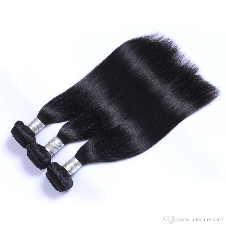 Brezilyalı Düz İnsan Bakire Saç Örgüleri 3 Paketler Ile Dantel Frontal 13x4 Kulak Dantel Frontal Çift Atkı Doğal Siyah Saç