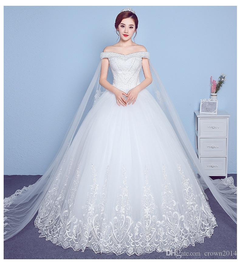 102f7a0b005 2019 Off The Shoulder Ball Gowns Lace Corset Wedding Dresses Empire Waist  Beaded Watteau Train Lace Up Back Bridal Wedding Dress Beautiful Wedding  Gowns ...