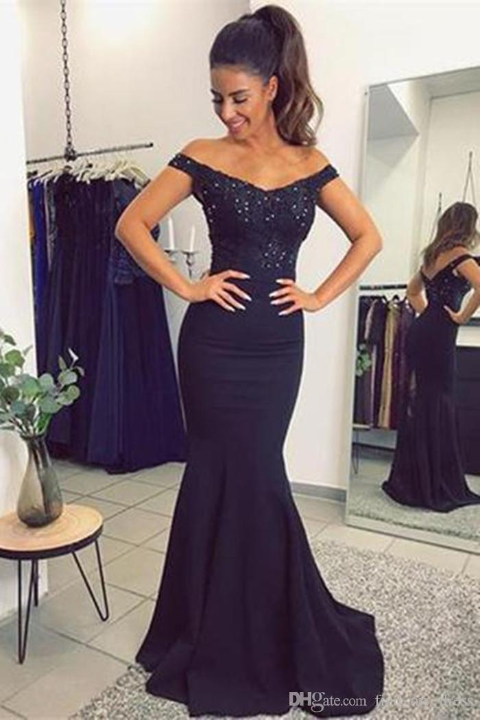 New Dark Navy Blue Off The Shoulder Mermaid Evening Dresses with Lace Beads See Through Party Prom Gown 2018 Satin Glitter Modern Beautiful