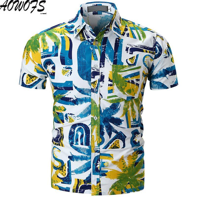 new arrival c86f8 3f411 2018 Camicia da uomo hawaiana maschile Camisa casual masculina stampata  Beach Shirt manica corta marca abbigliamento estivo taglia M-XXL
