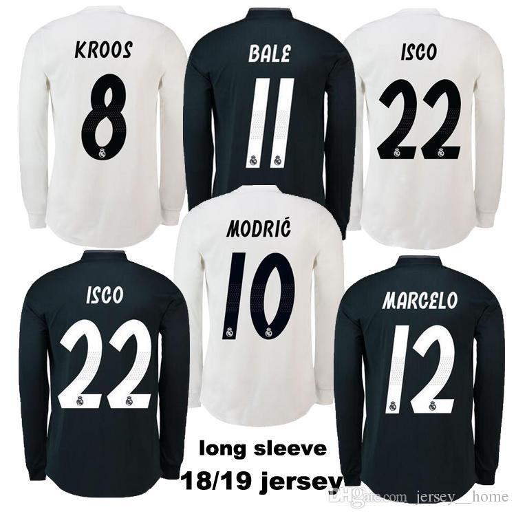 Compre 2018 Real Madrid Camisas Para Adultos 2019 Manga Longa Longe De Casa  Camisas De Futebol 2018 2019 SERGIO RAMOS ISCO BENZEMA Camisa De Futebol  KROOS ... 1eb549d4ce64f
