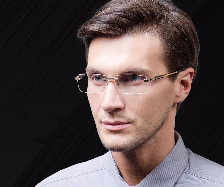 d3cd3644556 Rimless Glasses Wide Spectacle Men Square Eyeglasses Frames Reading Glasses  Prescription Lens Optical Frame M0349 Online Eyeglass Frames Optical Frames  ...