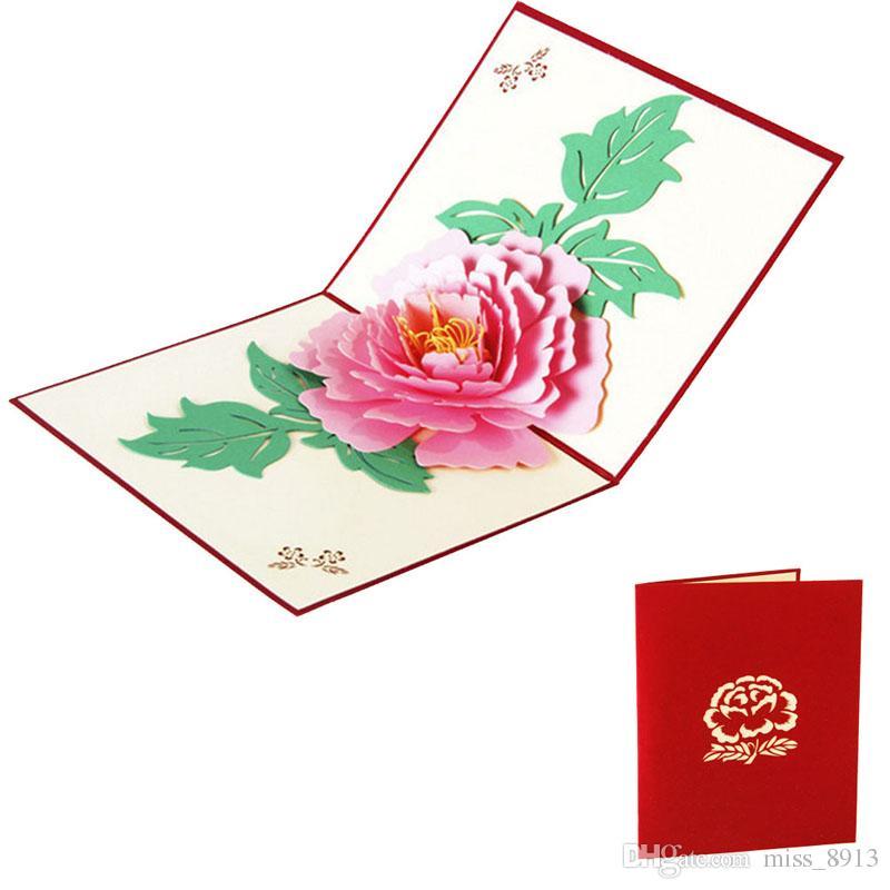 3D Pop Up Cartões 2018 Peônia Aniversário Dia Das Mães Dos Namorados De Natal Cartão Postal Presente Novo