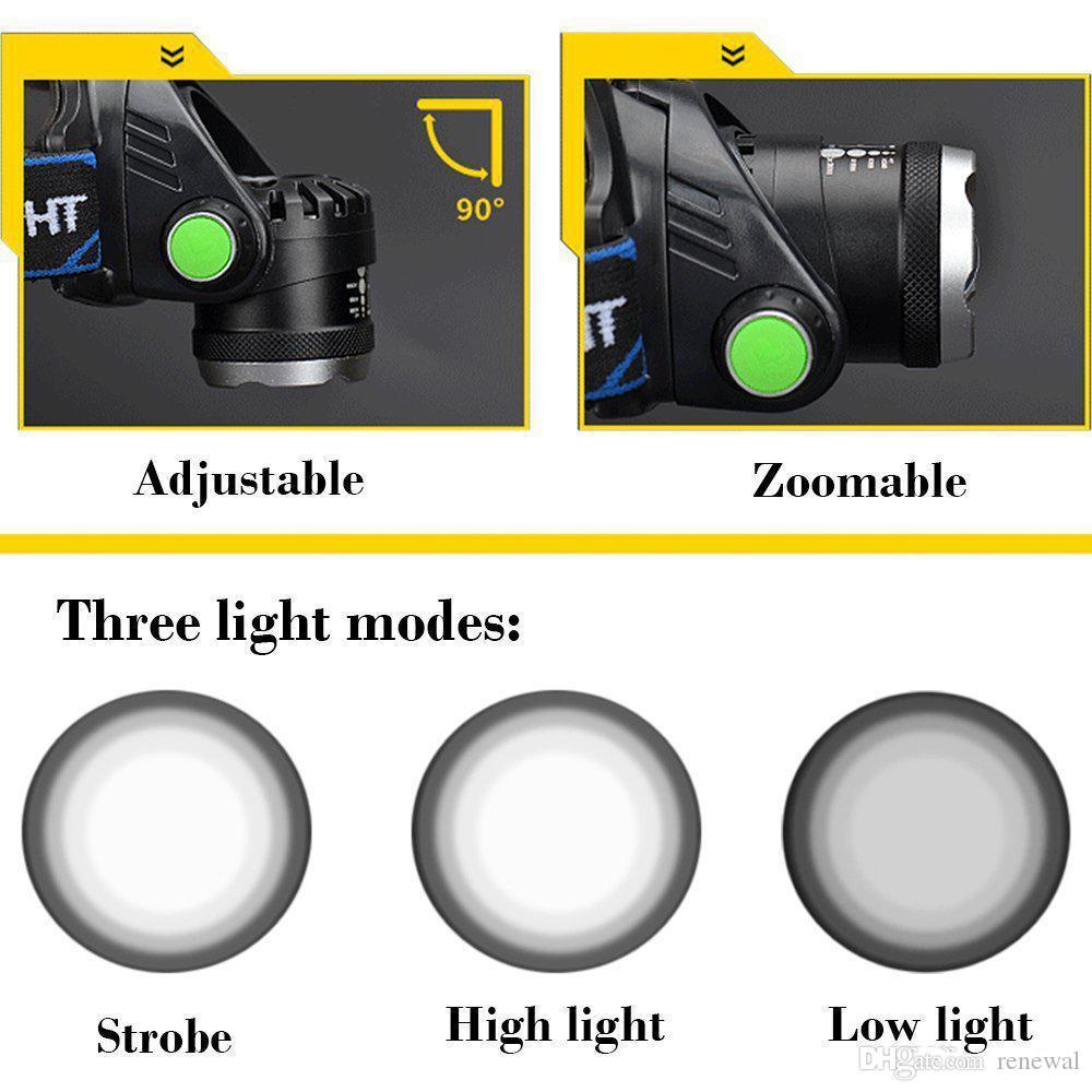 Wiederaufladbare led scheinwerfer cree xmlt6 5000 lumen zoom scheinwerfer taschenlampe led scheinwerfer + 18650 batterie scheinwerfer taschenlampe laterne