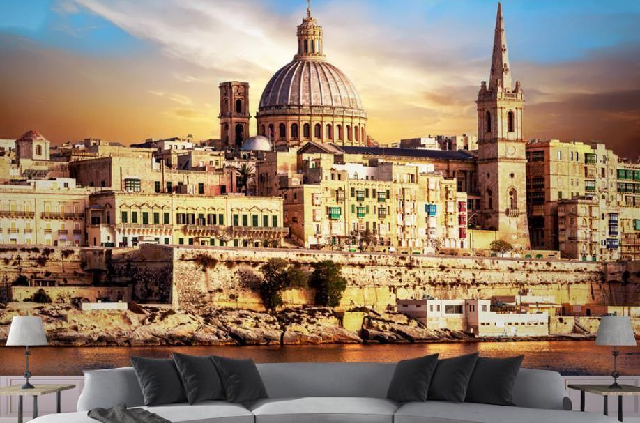 Benutzerdefinierte europäische Kirche 3D Wandbilder Schloss Landschaft Tapeten Wohnkultur Wohnzimmer Wandbild Hintergrund 3D Wallpaper Sofa TV