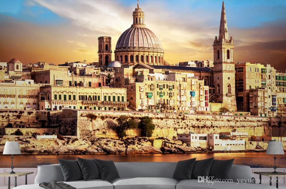 Özel Avrupa kilisesi 3D Duvar Resimleri Kale manzara Duvar kağıtları Ev Dekor Oturma odası Duvar Arka Plan 3D Duvar Kağıdı Kanepe TV