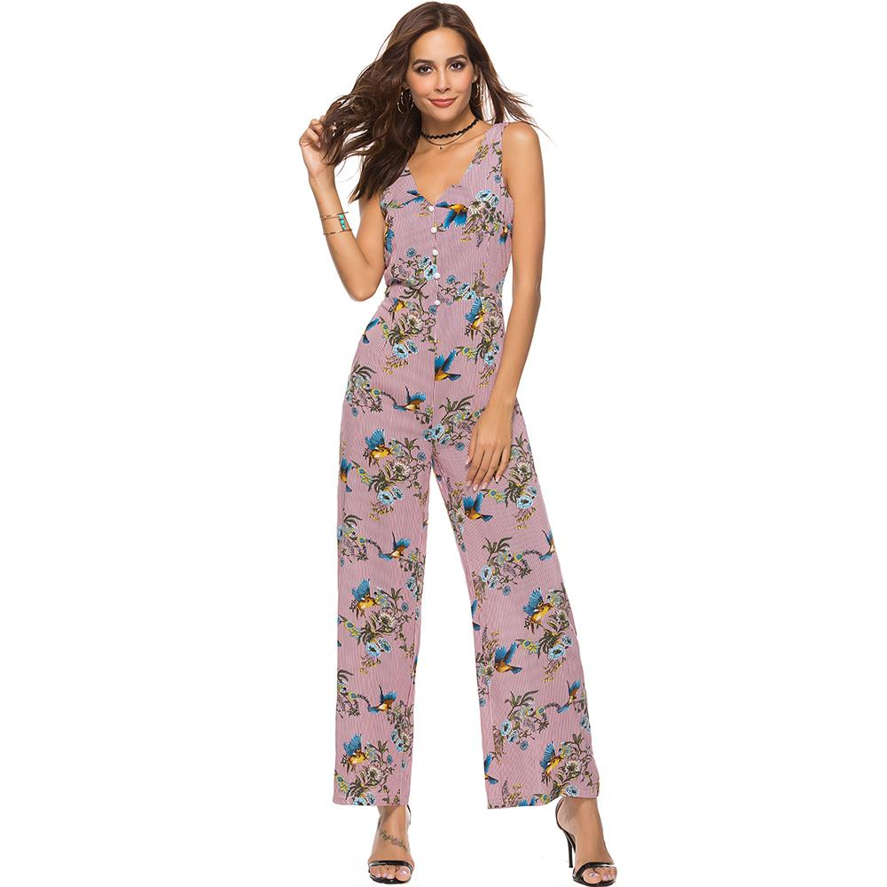 2c9795c45c6 Women Fashion Jumpsuit Floral Print Purple V Neck Button Full Length Loose  Wide Legs Mid Waist Overalls Street Travel Jumpsuits UK 2019 From  Whitecloth