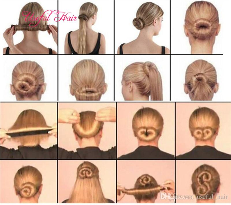 cheap hair magic tools French Hair Ties Girl Hair Diy Styling Donut Former Foam Twist Magic Tools Bun Maker Black Coffee for women