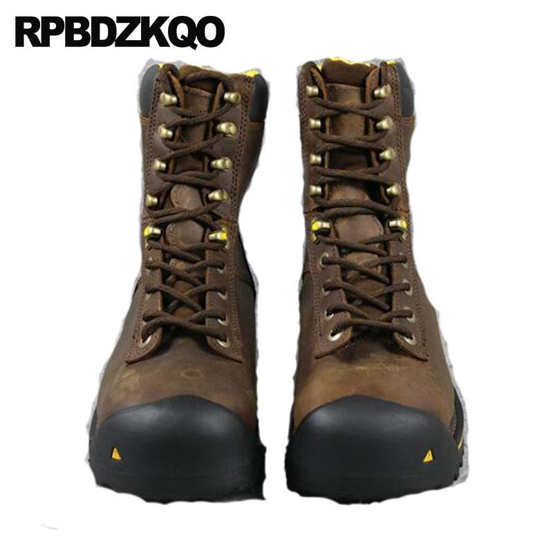 Working Durable High Sole Shoes Men Boots Safety Short Fall Full Grain  Genuine Leather Lace Up Steel Toe Work Ankle Brown Luxury Leather Boots For  Women ... a80e78fa320f
