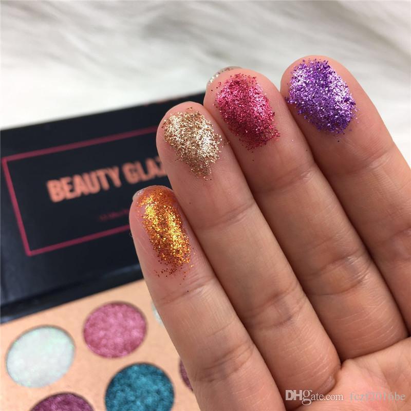 Belleza esmaltadas Glitter Inyecciones Presionado brillos de sombra de ojos de diamante del arco iris compone la caja cosmética es de sombra de ojos paleta imán de DHL
