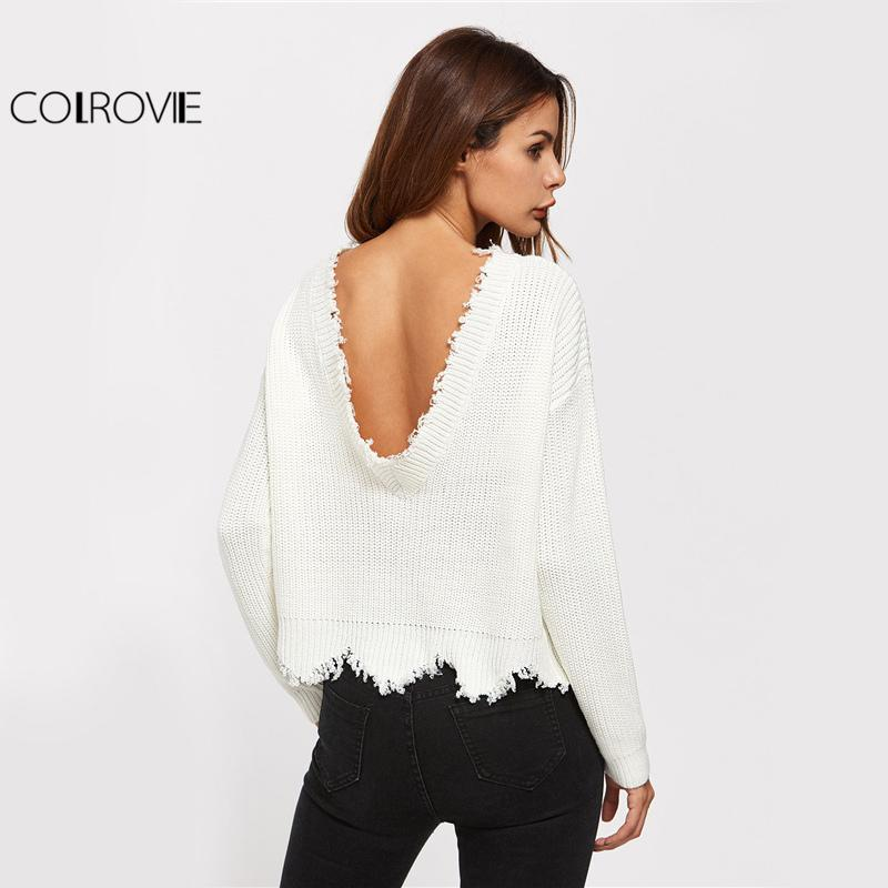 7ab62a5e3c COLROVIE Scallop Edge Sweater White Pullover Sexy Low Back Women Jumper  Fall 2017 Fashion Spring Long Sleeve Loose Sweater Y18102002 Online with ...
