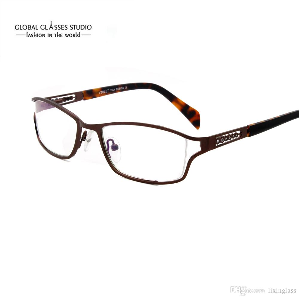 02bcb769de2f 2019 Fashion Women Metal Optical Frame Eyeglasses Crystal Stones Decoration  With Acetate Temple Tips Black Purple Brown 5060 From Lixinglass