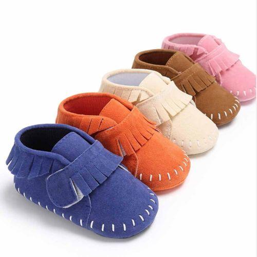 Baby Boy Girl Tassel Soft Sole Suede Shoes Infant Toddler Newborn Moccasin 0-18M