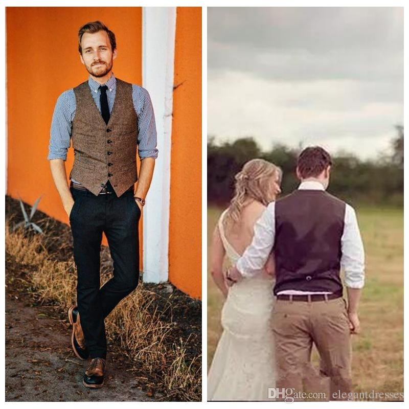 2018 Formal Custom Brown Tweed Vest Wool Herringbone Groom Vests British Style Mens Suit Vests Slim Fit Mens Dress Vest Wedding Casual VEST