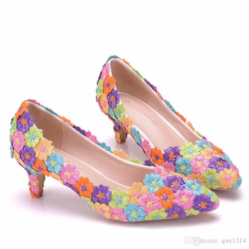 New Fashionl Multi Lace Flowers pointed toe shoes for women 5cm heel wedding shoes thick heels Beautiful Plus Size Shoes