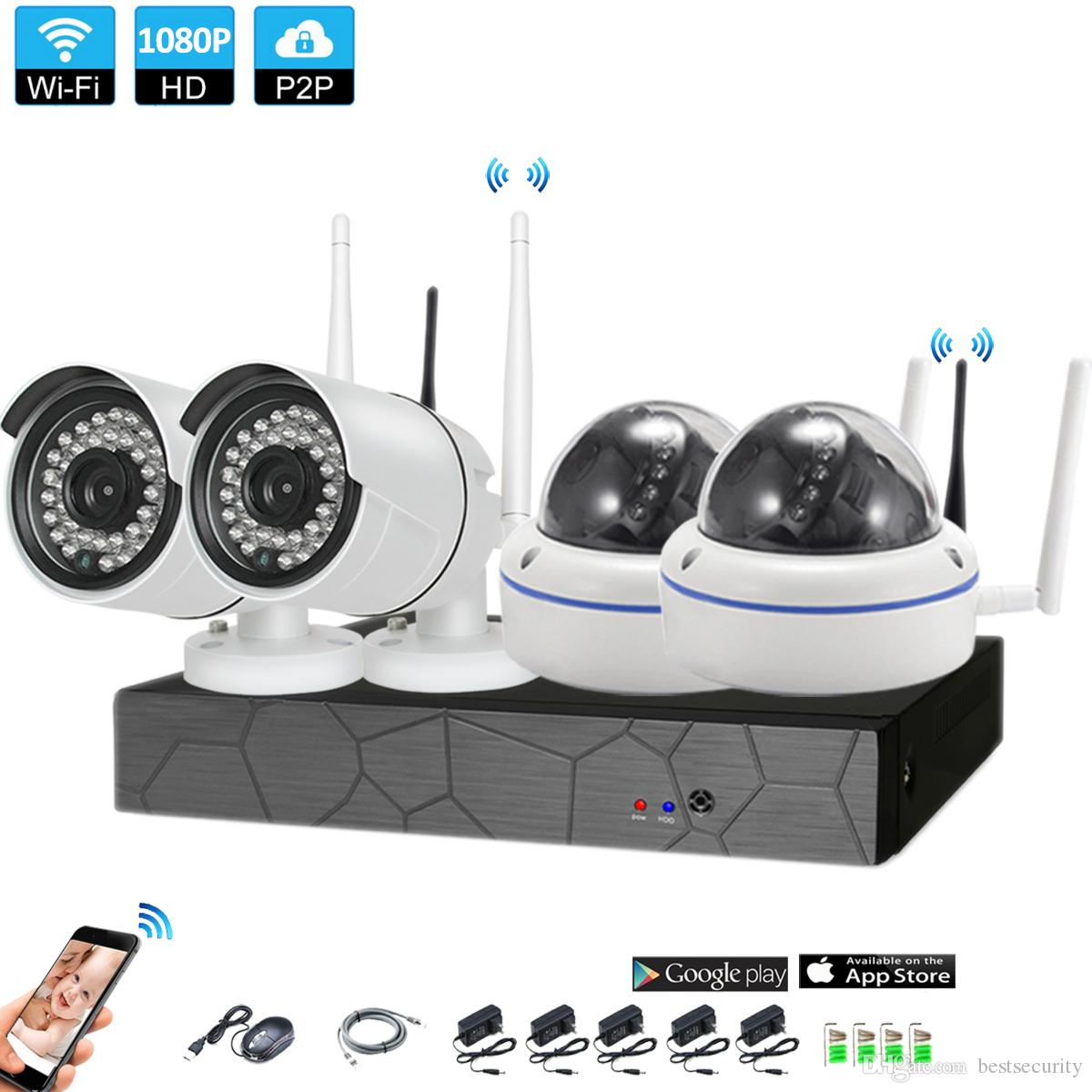 4CH HD CCTV System Wireless 1080P NVR 4PCS 2 0MP IR Outdoor Indoor P2P Wifi  IP CCTV Security Camera System Surveillance Kit