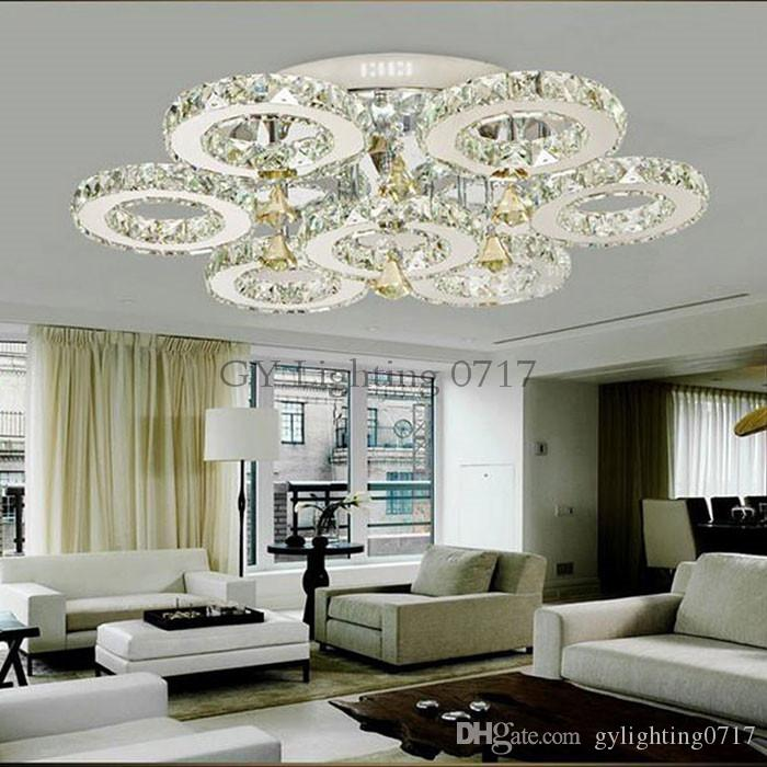 2018 Ac100 240v 56w Led Crystal Lights Big Round Circle Indoor Ceiling Lighting Fixture 7 Rings Res Lamps For Home Luzes From Gylighting0717