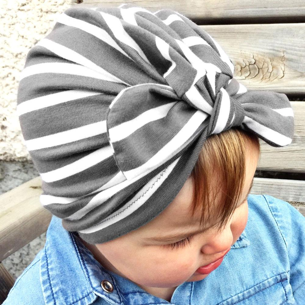 c3129592f97df Girls Boys Beanie Stripe Bow Hat Kids Fashion Vintage Cap Mix Color  European Style Spring Summer Baby Cap Online with  2.56 Piece on Baby sky s  Store ...
